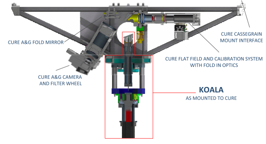 Diagram of the KOALA IFU installed on CURE